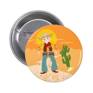 Fête d'anniversaire d'enfant de cowboy badge rond 5 cm