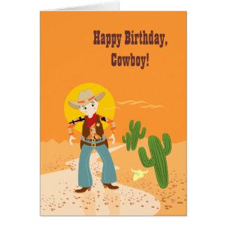 Fête d'anniversaire d'enfant de cowboy carte de vœux