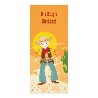 Fête d'anniversaire d'enfant de cowboy carton d'invitation  10,16 cm x 23,49 cm