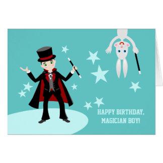Fête d'anniversaire d'enfant de magicien carte de vœux