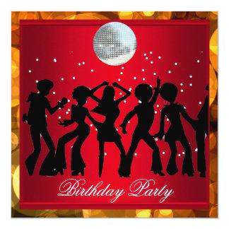 Fête d'anniversaire des années 70 de disco rétros carton d'invitation  13,33 cm