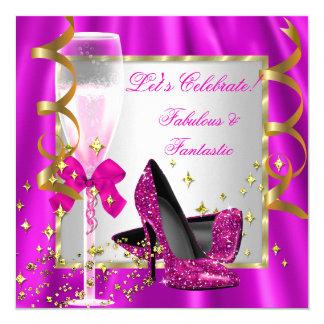 Fête d'anniversaire des femmes argentées de talons carton d'invitation  13,33 cm