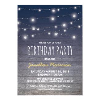 Fête d'anniversaire des hommes adultes bleus carton d'invitation  11,43 cm x 15,87 cm