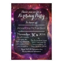 Fête d'anniversaire d'espace extra-atmosphérique carton d'invitation  12,7 cm x 17,78 cm