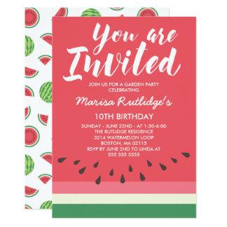 Fête d'anniversaire d'été de pastèque carton d'invitation  12,7 cm x 17,78 cm