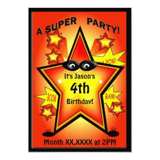 Fête d'anniversaire d'étoile de super héros carton d'invitation  12,7 cm x 17,78 cm