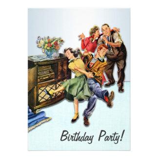 Fête d'anniversaire d'houblon de chaussette rétro carton d'invitation