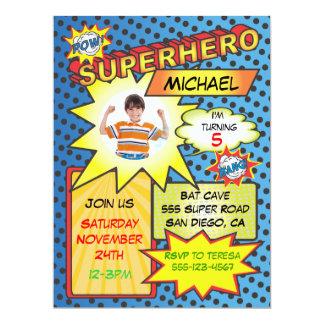 Fête d'anniversaire d'insertion de photo de super carton d'invitation  16,51 cm x 22,22 cm