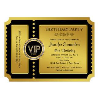 Fête d'anniversaire d'or de billet de VIP Carton D'invitation 12,7 Cm X 17,78 Cm