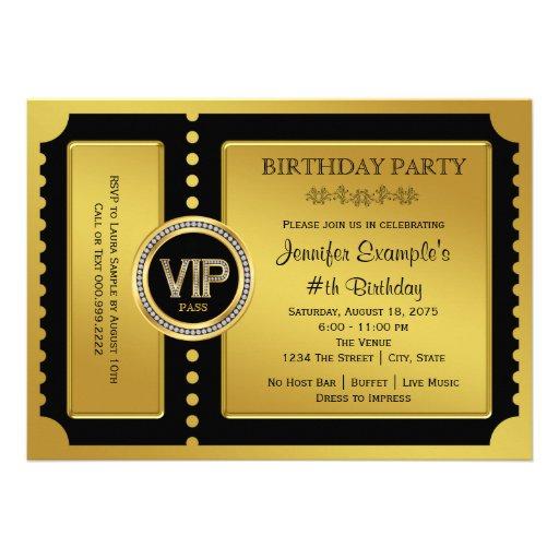 Fête d'anniversaire d'or de billet de VIP Faire-part Personnalisé