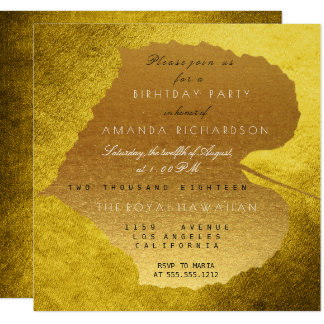 Fête d'anniversaire d'or de feuille de moutarde carton d'invitation  13,33 cm