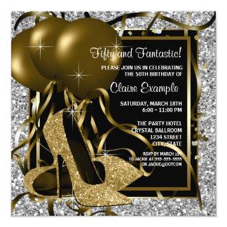 Fête d'anniversaire d'or de la femme argentée carton d'invitation  13,33 cm