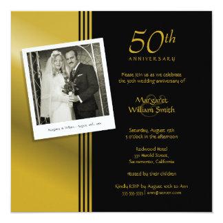 Fête d'anniversaire d'or de mariage de photo carton d'invitation  13,33 cm