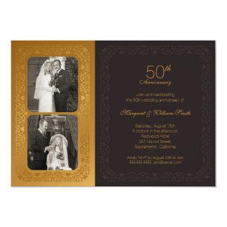 Fête d'anniversaire d'or de mariage de photos carton d'invitation  12,7 cm x 17,78 cm