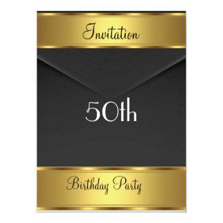 Fête d'anniversaire d'or d'invitation de fête