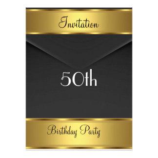 Fête d'anniversaire d'or d'invitation de fête d'an