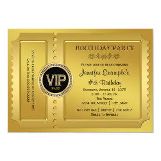 Fête d'anniversaire d'or élégante de billet de VIP Carton D'invitation 12,7 Cm X 17,78 Cm