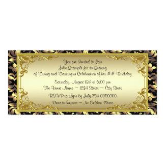 Fête d'anniversaire d'or élégante de billet invitation personnalisable