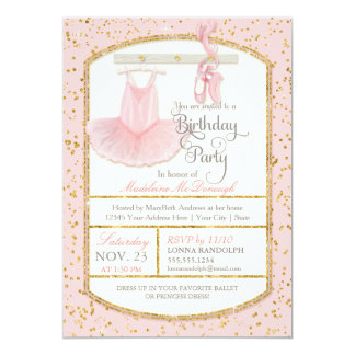 Fête d'anniversaire douce de ballet de ballerine carton d'invitation  12,7 cm x 17,78 cm