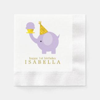 Fête d'anniversaire douce d'éléphant de lavande serviettes jetables
