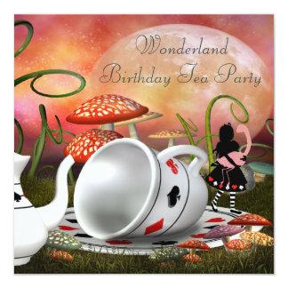 Fête d'anniversaire du pays des merveilles d'Alice Carton D'invitation 13,33 Cm
