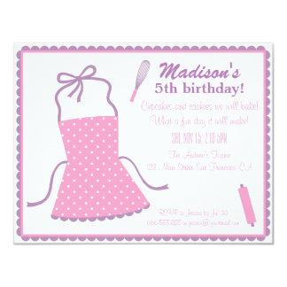 Fête d'anniversaire élégante à la mode de cuisson carton d'invitation 10,79 cm x 13,97 cm