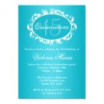 Fête d'anniversaire élégante bleue turquoise de invitation