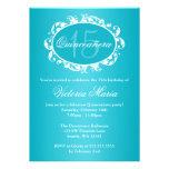 Fête d'anniversaire élégante bleue turquoise de Qu Invitation