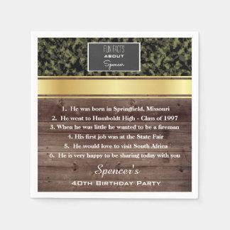 Fête d'anniversaire élégante de camouflage de serviettes en papier