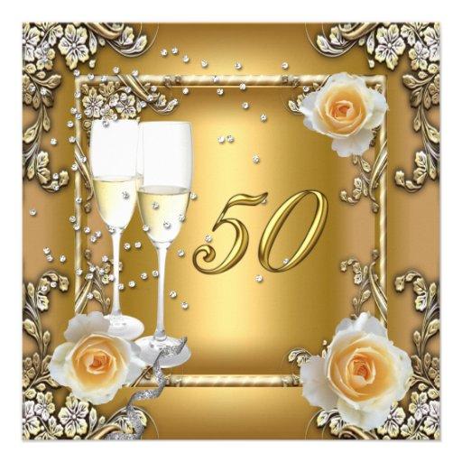 Fête d'anniversaire élégante de mariage d'or cinqu invitation personnalisable