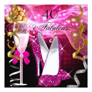 Fête d'anniversaire fabuleuse de 40 de roses carton d'invitation  13,33 cm