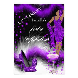 Fête d'anniversaire fabuleuse de 40 Madames Purple Carton D'invitation 12,7 Cm X 17,78 Cm