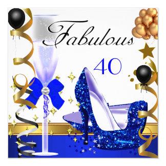 Fête d'anniversaire fabuleuse de l'or 40 bleus de carton d'invitation  13,33 cm