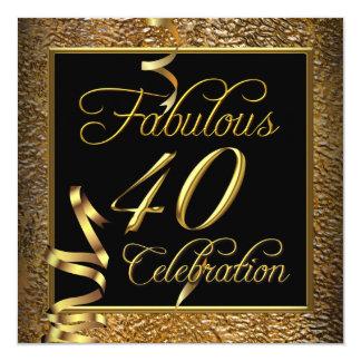 Fête d'anniversaire fabuleuse de noir d'or de 40 carton d'invitation  13,33 cm
