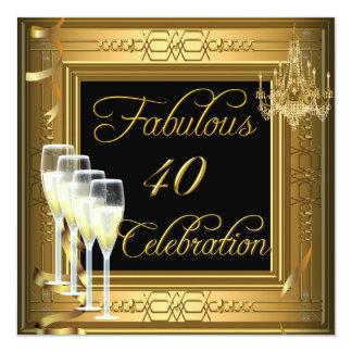 Fête d'anniversaire fabuleuse de noir d'or de 40 bristols personnalisés