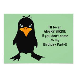 Fête d'anniversaire fâchée de birdie carton d'invitation