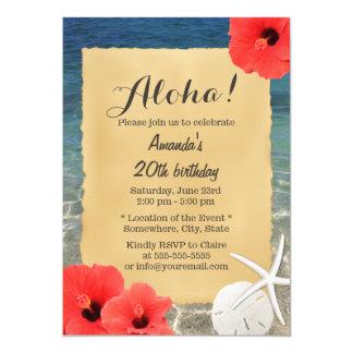 Fête d'anniversaire florale de plage tropicale carton d'invitation  12,7 cm x 17,78 cm