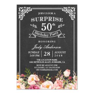 Fête d'anniversaire florale de surprise de tableau carton d'invitation  12,7 cm x 17,78 cm
