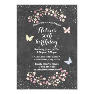 Fête d'anniversaire florale de tableau vintage carton d'invitation  12,7 cm x 17,78 cm