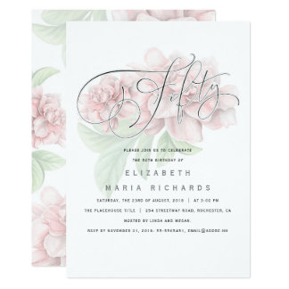 Fête d'anniversaire florale rose élégante de la carton d'invitation  12,7 cm x 17,78 cm