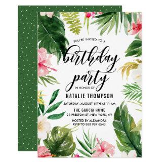 Fête d'anniversaire florale tropicale de cadre carton d'invitation  12,7 cm x 17,78 cm
