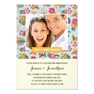 Fête d'anniversaire florale tropicale de photo de carton d'invitation  12,7 cm x 17,78 cm
