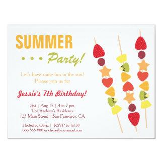 Fête d'anniversaire fruitée tropicale d'été carton d'invitation 10,79 cm x 13,97 cm