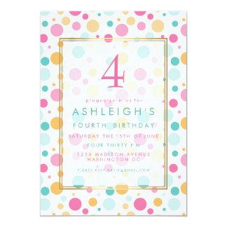 Fête d'anniversaire Girly colorée d'enfant de pois Carton D'invitation 12,7 Cm X 17,78 Cm