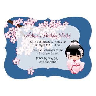 Fête d'anniversaire japonaise de poupée de Kokeshi Carton D'invitation 12,7 Cm X 17,78 Cm