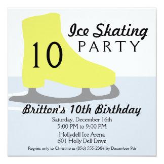 Fête d'anniversaire jaune de patinage de glace de carton d'invitation  13,33 cm