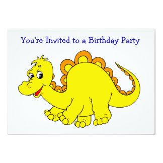 Fête d'anniversaire jaune de sourire de dinosaure carton d'invitation  12,7 cm x 17,78 cm