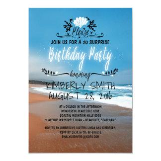 Fête d'anniversaire lunatique et bleue de plage de carton d'invitation  12,7 cm x 17,78 cm