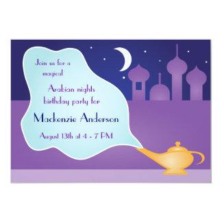 Fête d'anniversaire magique de lampe de mille et carton d'invitation  12,7 cm x 17,78 cm