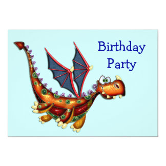 Fête d'anniversaire maladroite de dragon de vol carton d'invitation  12,7 cm x 17,78 cm